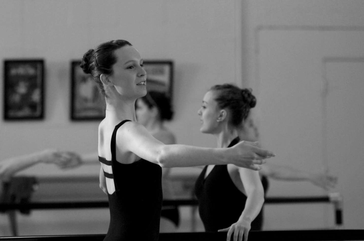 Advanced students at the barre in Ballet class.